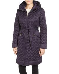 Ellen Tracy | Blue Hooded Belted Down Coat | Lyst