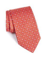 Ferragamo | Red Gancini & Flag Print Silk Tie for Men | Lyst