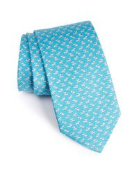 Ferragamo | Blue Dog Print Silk Tie for Men | Lyst