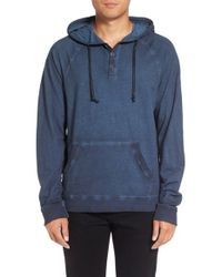 Michael Stars | Blue Faded Henley Hoodie for Men | Lyst