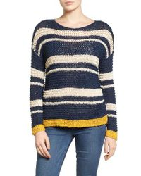 Caslon | Blue Caslon Stripe Open Stitch Sweater | Lyst