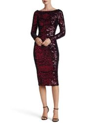 Dress the Population | Red Emery Scoop Back Sequin Midi Dress | Lyst