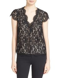 Joie - Black Averra Lace V-neck Top - Lyst