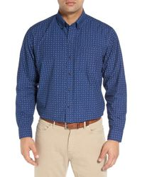 Cutter & Buck | Blue 'garrett' Regular Fit Print Cotton Poplin Sport Shirt for Men | Lyst