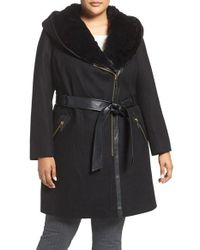 Via Spiga | Black Wool Blend Coat With Faux Fur Trim | Lyst