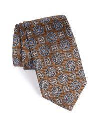 David Donahue   Brown Medallion Silk Tie for Men   Lyst