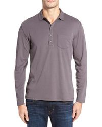 Robert Barakett | Gray Calgary Long Sleeve Polo for Men | Lyst