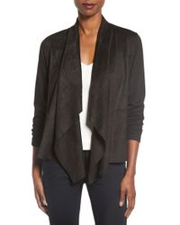 Foxcroft | Black Open Front Faux Suede Cardigan | Lyst