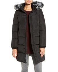 Gallery | Black Hooded Down & Feather Fill Stadium Jacket With Faux Fur Trim | Lyst