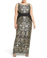 Adrianna Papell | Black Sleeveless Gold Lace Shift Dress | Lyst