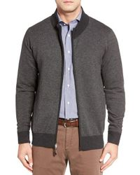Peter Millar | Gray Wool Blend Twill Knit Zip Sweater for Men | Lyst
