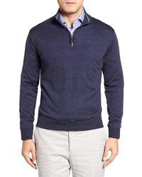 Peter Millar | Blue Merino Wool Quarter Zip Sweater for Men | Lyst
