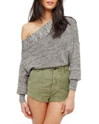 Free People | Gray Alana Pullover Sweater | Lyst