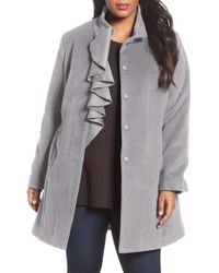 Tahari | Red Kate Ruffle Wool Blend Coat | Lyst