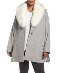 Tahari | Gray Olivia Plaid Coat With Removable Faux Fur Collar | Lyst