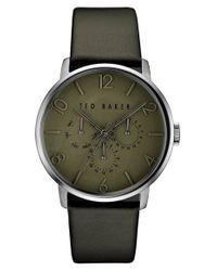 Ted Baker | Green Multifunction Leather Strap Watch for Men | Lyst