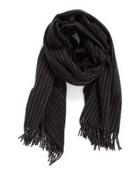 Rag & Bone | Black Pinstripe Brushed Wool Scarf | Lyst