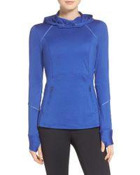 Zella | Blue Run Free Hooded Pullover | Lyst
