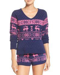 Betsey Johnson - Blue Plush Sweater - Lyst