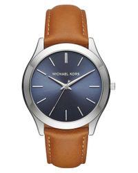 MICHAEL Michael Kors   Blue 'slim Runway' Leather Strap Watch   Lyst