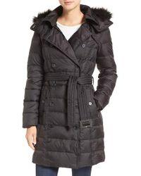 Sam Edelman | Black Faux Fur Trim Down Coat | Lyst