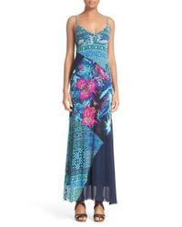 Fuzzi   Blue Fern Print Tulle Maxi Dress   Lyst