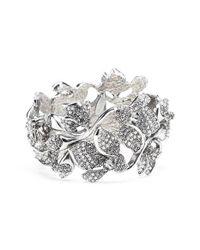 Oscar de la Renta - Black Crystal Flower Bracelet - Lyst