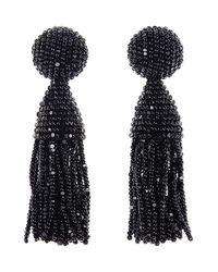 Oscar de la Renta | Black Long Swarovski® Crystal Loop Tassel Clip Earrings | Lyst