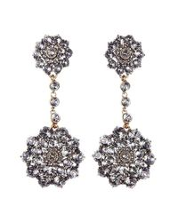 Oscar de la Renta | Black 'classic Jeweled' Swarovski Crystal Drop Earrings | Lyst