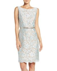 Ellen Tracy | Blue Sequin Lace Sheath Dress | Lyst
