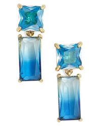 kate spade new york | Blue Baguette Crystal Drop Earrings | Lyst