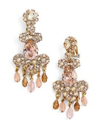 Oscar de la Renta | Metallic Crystal Flower Chandelier Earrings | Lyst