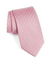 Ferragamo | Pink Gancini Print Silk Tie for Men | Lyst