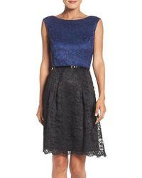 Ellen Tracy | Blue Lace Fit & Flare Dress | Lyst