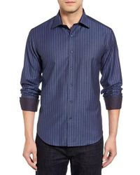 Bugatchi | Blue Shaped Fit Stripe Sport Shirt for Men | Lyst