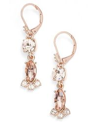 Marchesa | Metallic Crystal Drop Earrings | Lyst