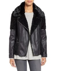 Vince Camuto | Black Mixed Media Faux Shearling Moto Jacket | Lyst