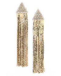 Cara - Metallic Triangle Rhinestone Drop Earrings - Lyst