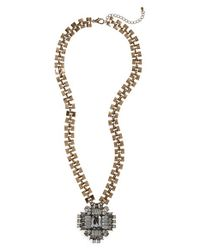 Panacea | Metallic Crystal Pendant Statement Necklace | Lyst