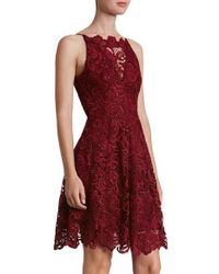 Dress the Population | Red 'hayden' Lace Fit & Flare Dress | Lyst