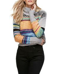 Free People | Gray This & That Mix Stitch Stripe Sweater | Lyst