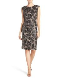 Vince Camuto - Black Embroidered Sequin Body-con Dress - Lyst