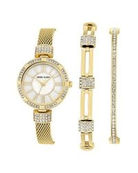 Anne Klein | Metallic Watch & Bangle Set | Lyst