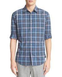 John Varvatos   Blue Everly Extra Trim Fit Plaid Sport Shirt for Men   Lyst