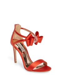 Badgley Mischka | Red Beauty Bow Ankle Strap Sandal | Lyst