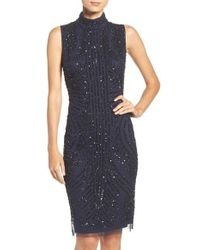 Adrianna Papell | Blue Sequin Mesh Sheath Dress | Lyst