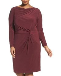 Adrianna Papell   Red Knot Front Drape Jersey Dress   Lyst