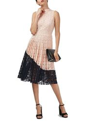 TOPSHOP | Multicolor Colorblock Pleated Lace Midi Dress | Lyst