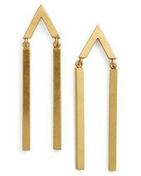 Madewell - Metallic Arrow Bar Drop Earrings - Lyst