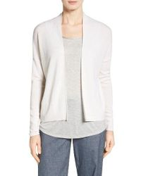 Nordstrom Collection | White Pointelle Detail Cashmere Cardigan | Lyst